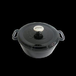 Černý litinový hrnec s poklicí Ø 24 cm