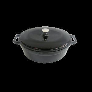 Černý litinový hrnec s poklicí 30 x 23 cm