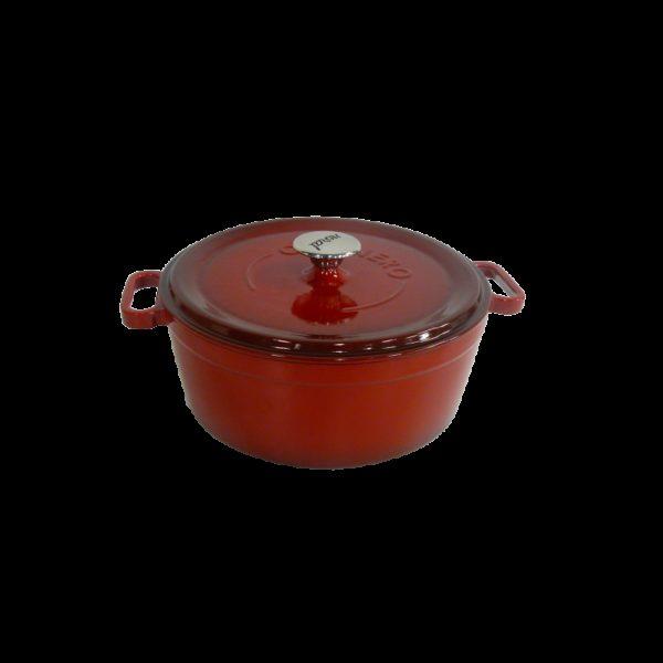 Červený litinový hrnec s poklicí Ø 24 cm